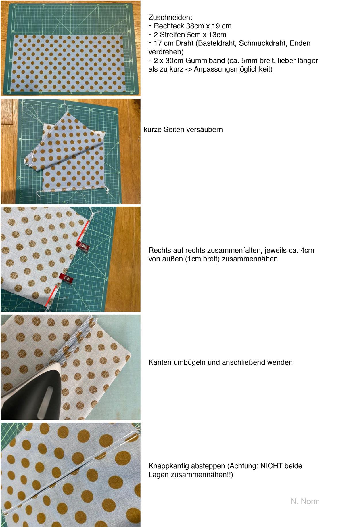 Anleitung Mundschutzmaske mit Filterfach